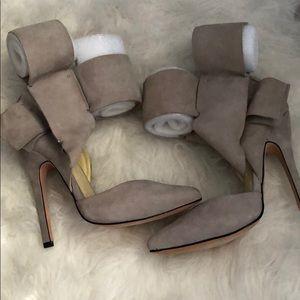 Aminah Abdul Jillil side suede side bow heels